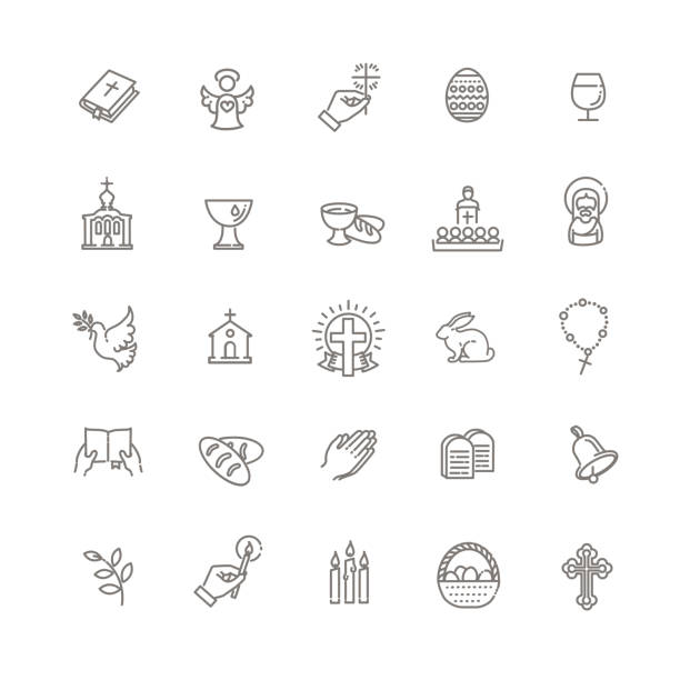 Christianity icon set Set of the Easter related outline icons church stock illustrations