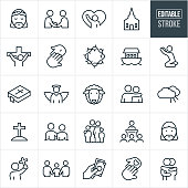 A set Christianity and religion icons that include editable strokes or outlines using the EPS vector file. The icons include people attending church, a church, Jesus Christ, Jesus on the cross, crown of thorns, baptism, fellowshipping, prayer, ark, bible, angel, lamb, sheep, heaven, cross, family, donation and two people hugging to name a few.