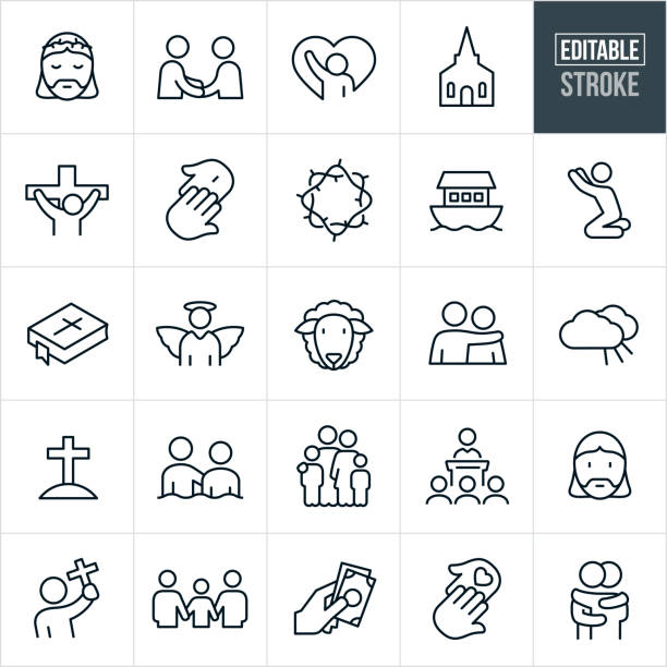 Christianity Line Icons - Editable Stroke A set Christianity and religion icons that include editable strokes or outlines using the EPS vector file. The icons include people attending church, a church, Jesus Christ, Jesus on the cross, crown of thorns, baptism, fellowshipping, prayer, ark, bible, angel, lamb, sheep, heaven, cross, family, donation and two people hugging to name a few. place of worship stock illustrations