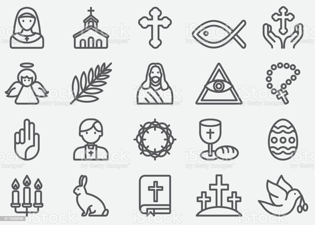 Christianity Line Icons vector art illustration
