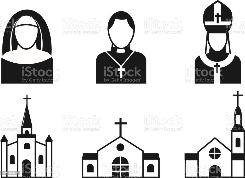 Los iconos planos de cristianismo religión vector ilustración del tradicional silueta negra religiosa Santo orando personas - ilustración de arte vectorial