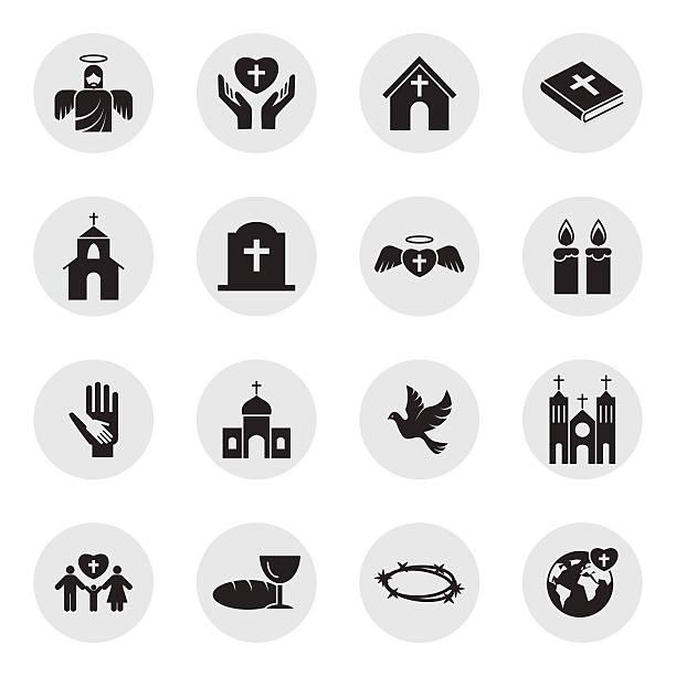 christianity religion icon set - religious symbols stock illustrations, clip art, cartoons, & icons