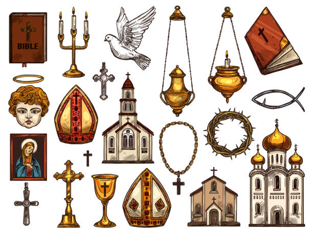 stockillustraties, clipart, cartoons en iconen met christendom religie orthodoxe, katholieke symbolen - mijter