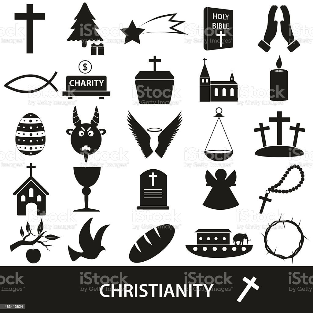 Christianity Religion Symbols Vector Set Of Icons Eps10 Stock Vector