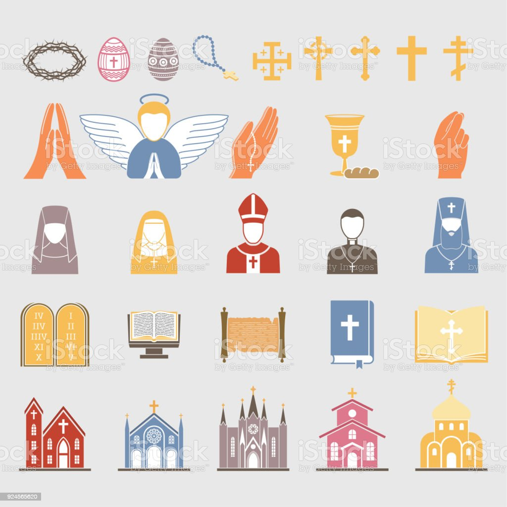 Christianity religion vector flat icons illustration traditional christianity religion vector flat icons illustration traditional holy bible symbols candle silhouette praying people design biocorpaavc