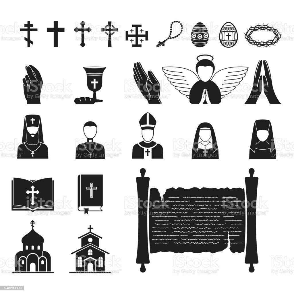 Religión cristianismo vector ilustración plana religionism de silueta tradicional signo Santo rezar el símbolo de la cultura tradicional iglesia religionary fe cristiana religioso sacerdote - ilustración de arte vectorial