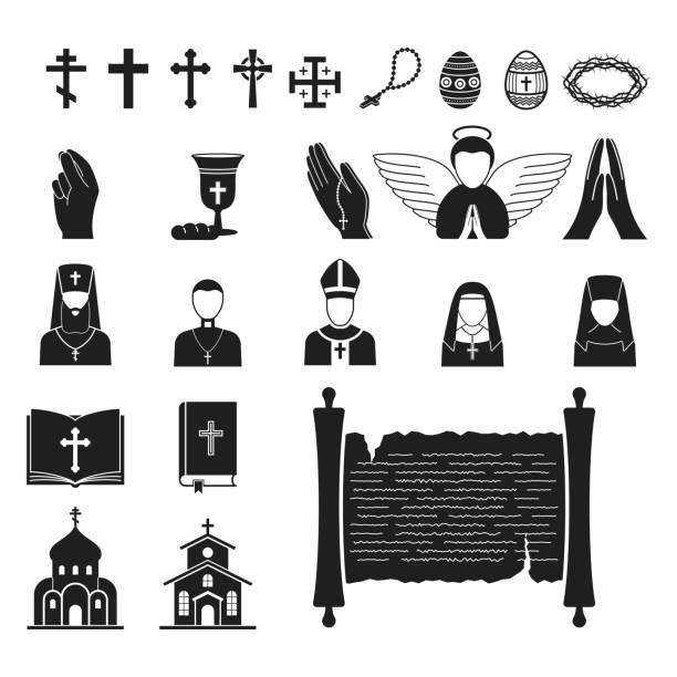 ilustraciones, imágenes clip art, dibujos animados e iconos de stock de religión cristianismo vector ilustración plana religionism de silueta tradicional signo santo rezar el símbolo de la cultura tradicional iglesia religionary fe cristiana religioso sacerdote - hermana