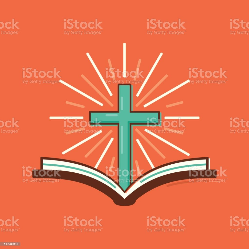 Christianity Religious Bible Cross Symbol vector art illustration