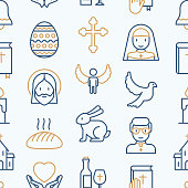 Christianity seamless pattern with thin line icons of priest, church, nun, crucifixion, Jesus, bible, dove. Vector illustration for banner, web page, print media.