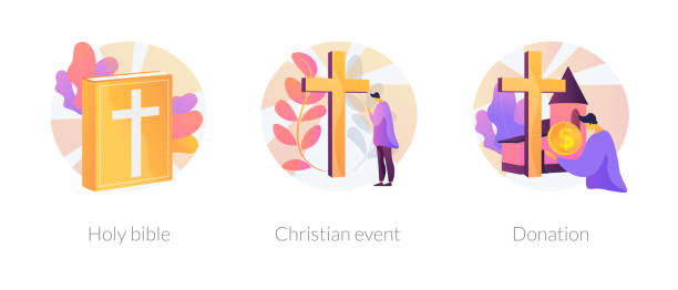 Christianity vector concept metaphors Church congregation lifestyle symbols. Sacred book, religious ceremonies and financial contribution. Holy bible, christian event, donation metaphors. Vector isolated concept metaphor illustrations place of worship stock illustrations