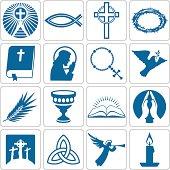 Set of sixteen Christian symbols. Vector design element set.