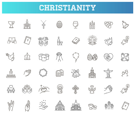 Christianity vector icon set. Christianity