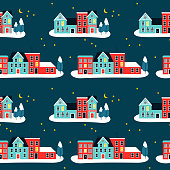 Christma houses on winter seamless pattern