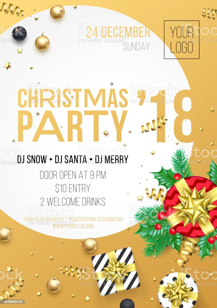 Christmas 2018 Party Invitation Poster Design Template For December ...