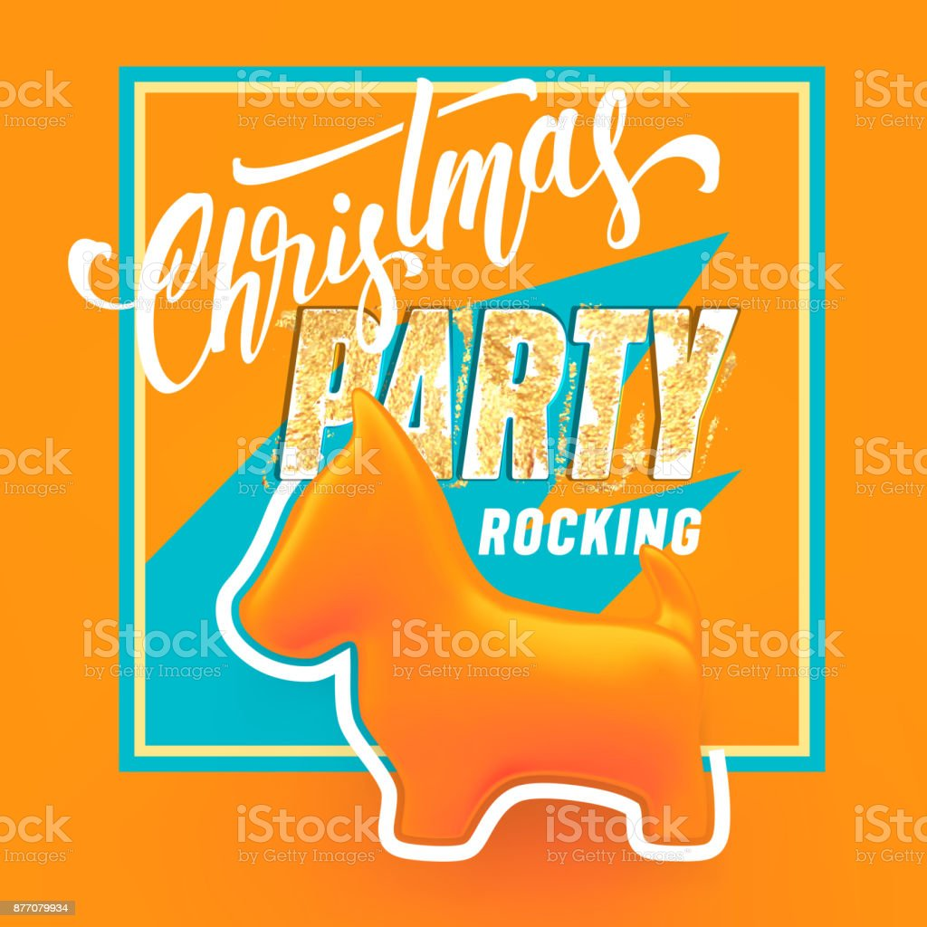 Christmas 2018 Party Rocking Text And Orange Dog Figure Vector ...