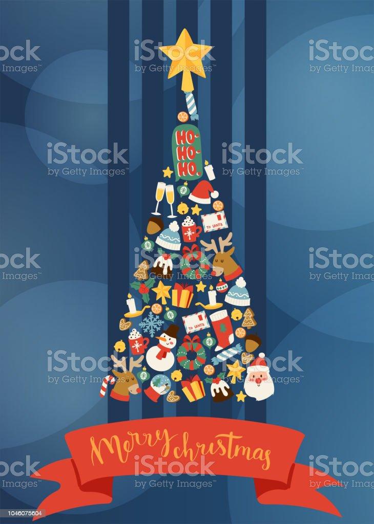 Imagenes Felicitacion Navidad 2019.Ilustracion De Feliz Ano Nuevo Navidad 2019 Decorado Arbol