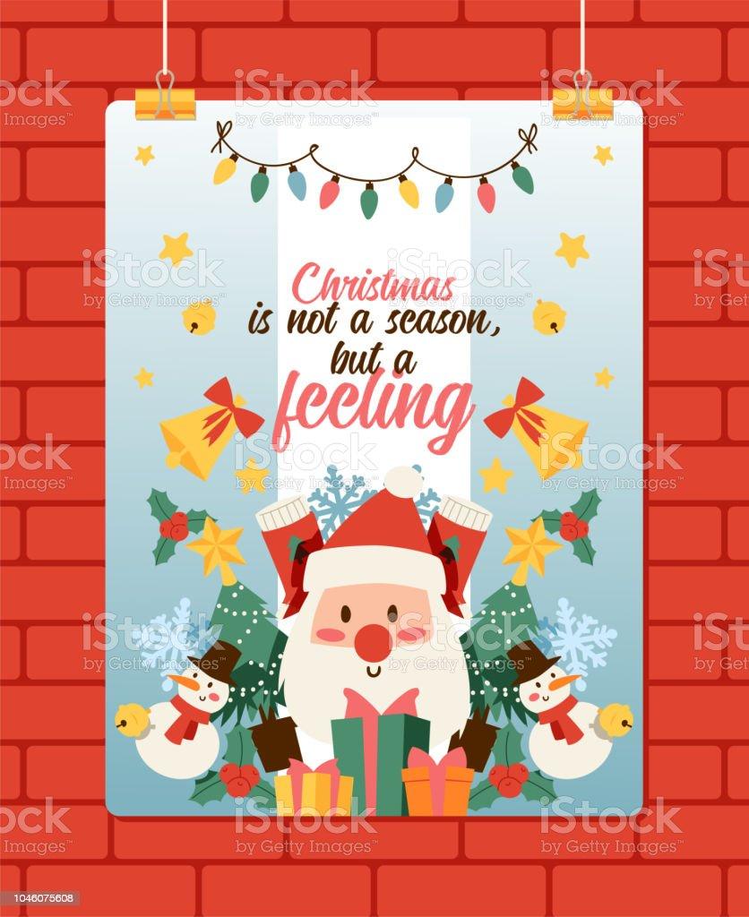Christmas 2019 Happy New Year Greeting Card Santa Head Face Vector