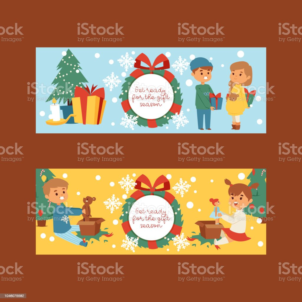 christmas 2019 happy new year greeting card vector boy and girl friends background banner holidays winter