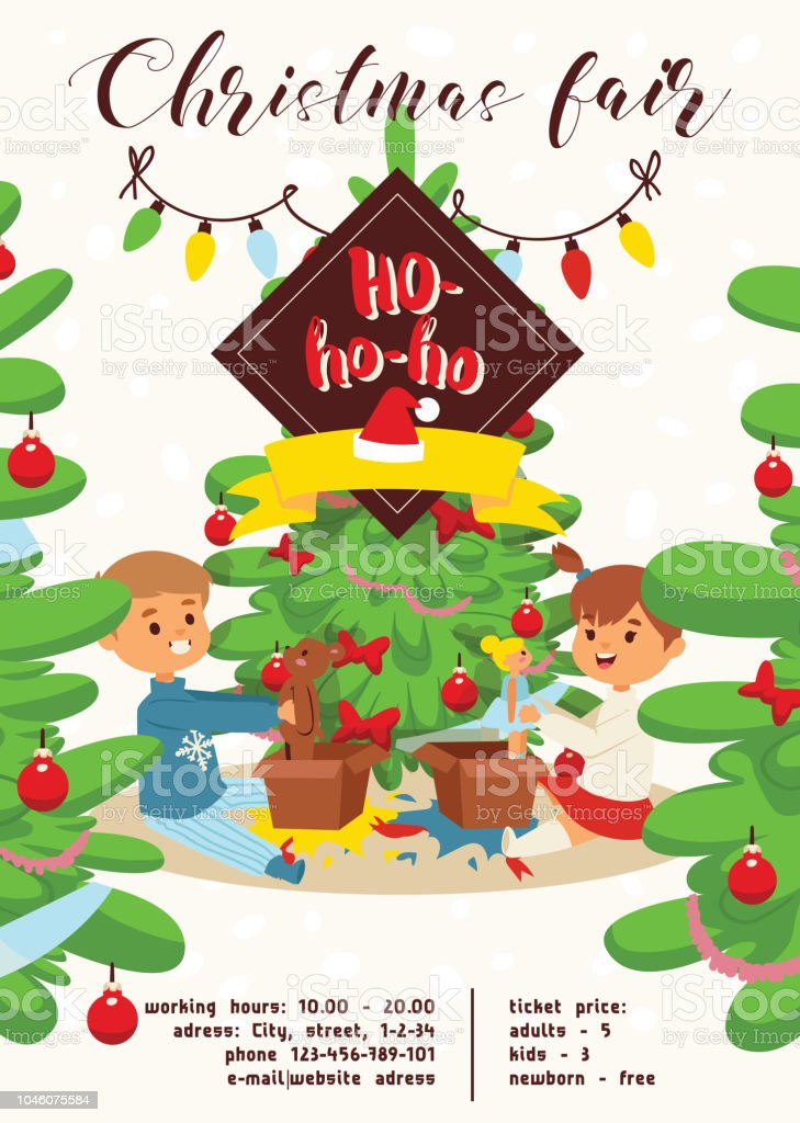 christmas 2019 happy new year greeting card vector boy s brothers find gifts near tree friends