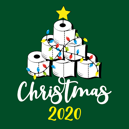 Christmas 2020 - Funny greeting card for Christmas in covid-19 pandemic self isolated period.