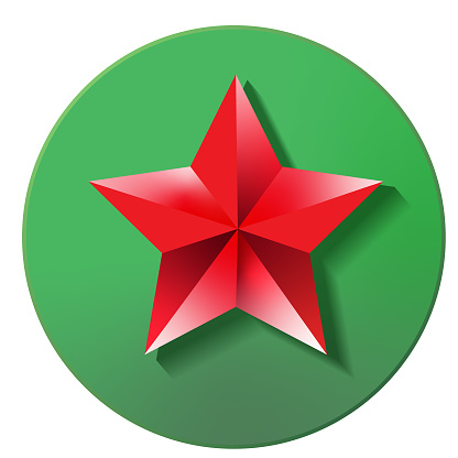Christmas 3D app red star tree topper icon design in vibrant gradient colors