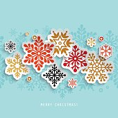Christmas abstract background with paper snowflakes