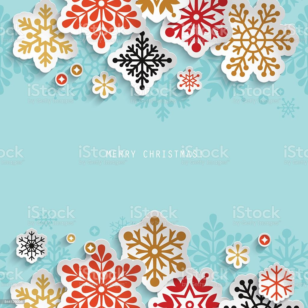 Christmas abstract background with paper snowflakes vektör sanat illüstrasyonu