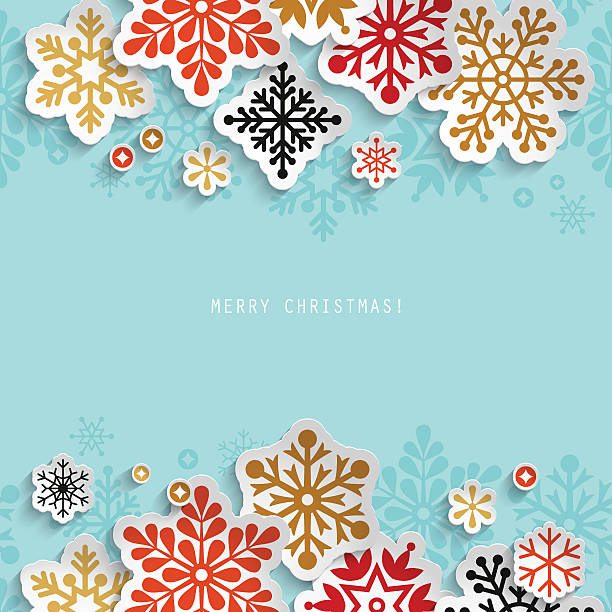 christmas abstract background with paper snowflakes - winter stock illustrations, clip art, cartoons, & icons