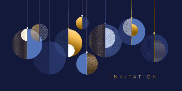 Christmas abstract bauble elegant geometric header Christmas abstract baubles elegant geometric header. Lux and business vibes laconic xmas design element for card, header, invitation, poster, social media, post publication. holidays and seasonal background stock illustrations