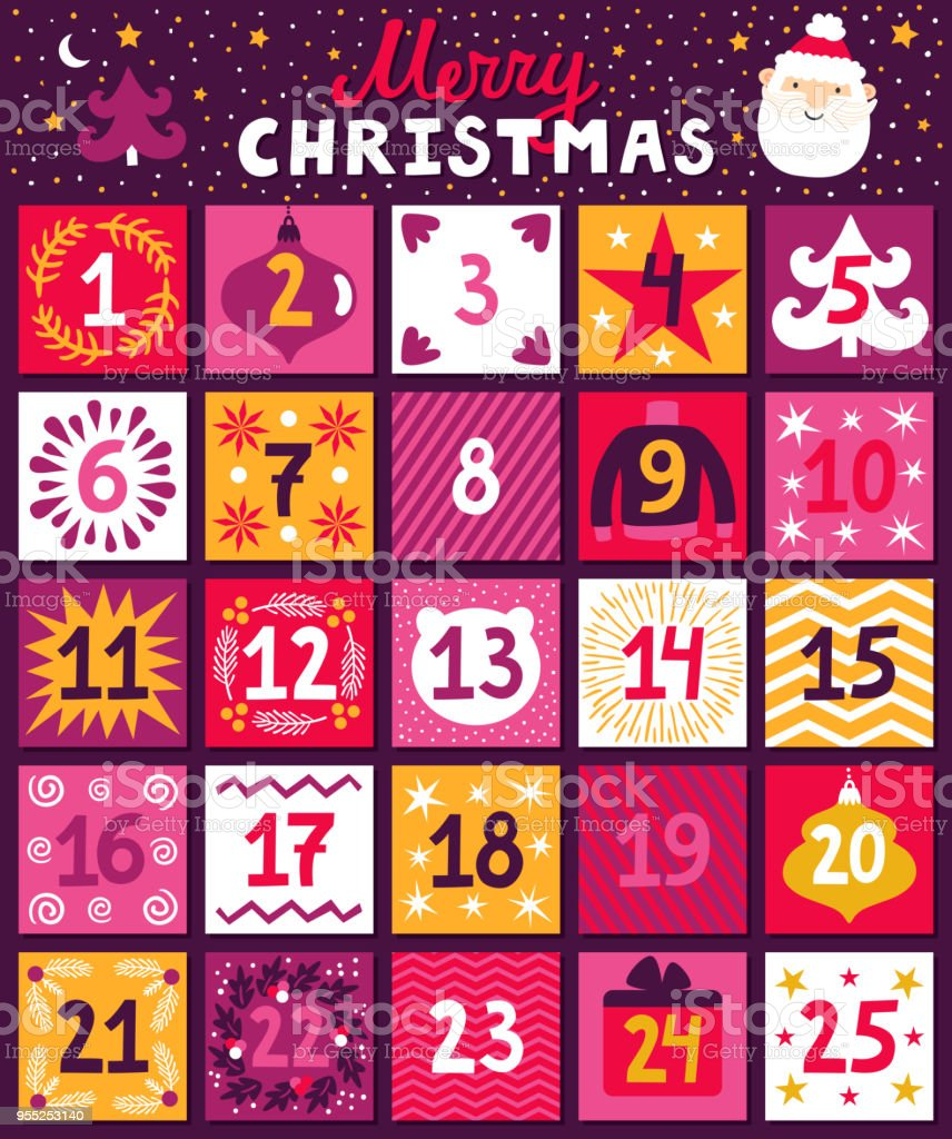 Christmas advent calendar. Bright holiday countdown in cartoon style. Childish background with Santa Claus, christmas tree, ornaments and hand written text 'Merry Christmas' vector art illustration