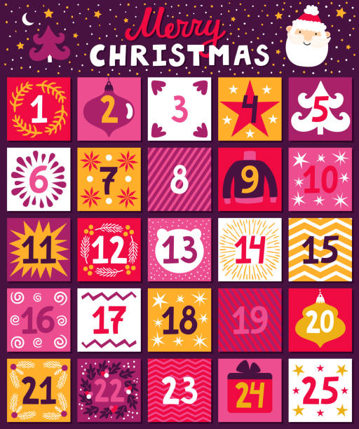 "christmas advent calendar. bright holiday countdown in cartoon style. childish background with santa claus, christmas tree, ornaments and hand written text ""merry christmas"" - advent stock illustrations"