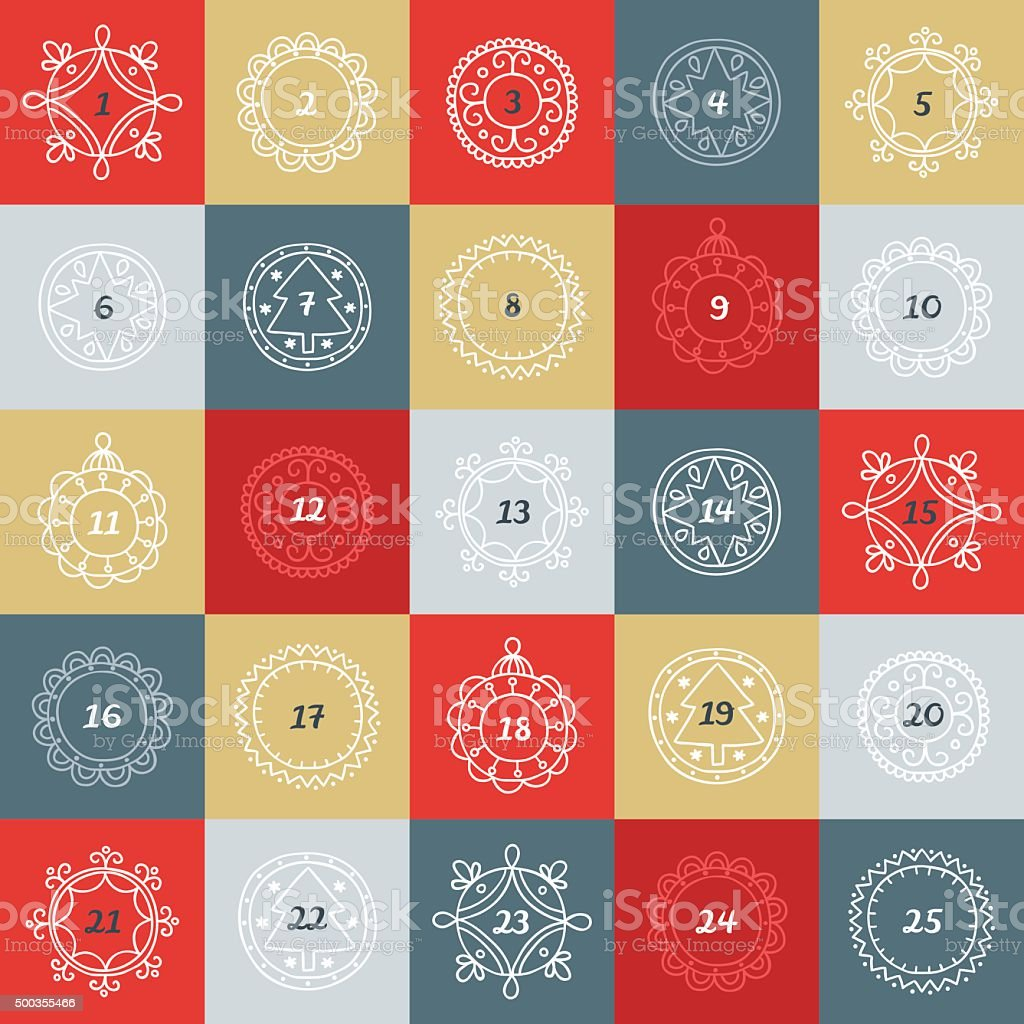Christmas Advent Calendar. Colorful boxes with frames in linear style vector art illustration