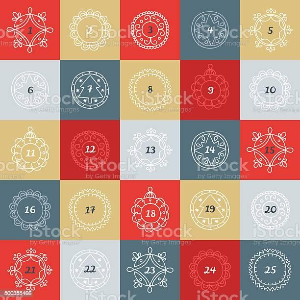 Noël Calendrier De Lavent Boîtes Colorées Avec Des Cadres De Style Linéaire Vecteurs libres de droits et plus d'images vectorielles de 2015
