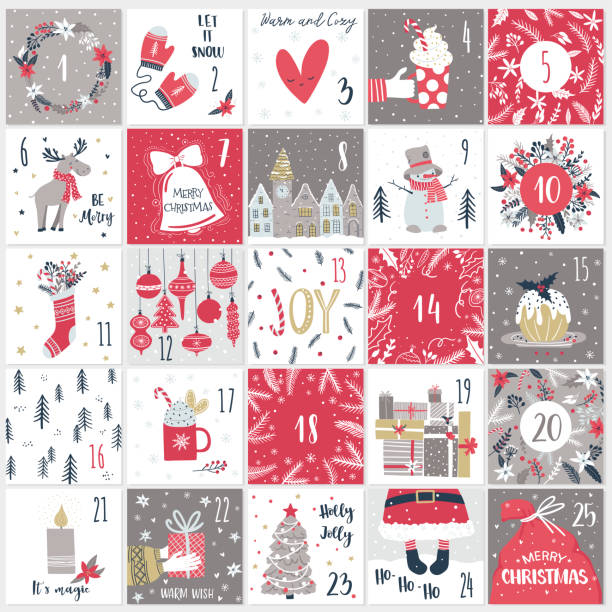 christmas advent  calendar. countdown till christmas kit - advent stock illustrations