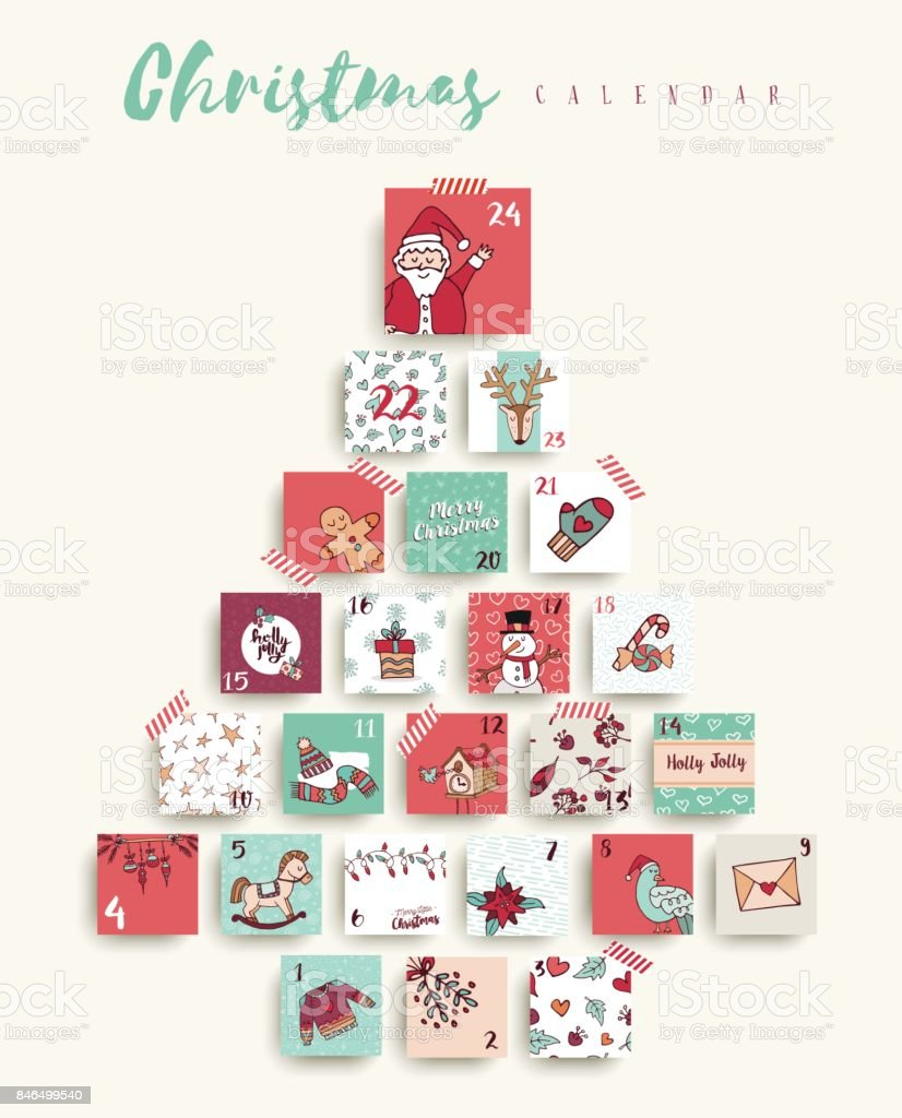 Christmas advent calendar cute cartoon holiday art vector art illustration