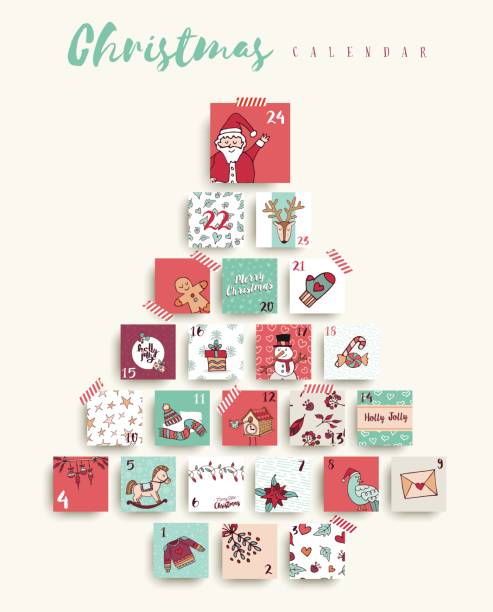 christmas advent calendar cute cartoon holiday art - advent stock illustrations