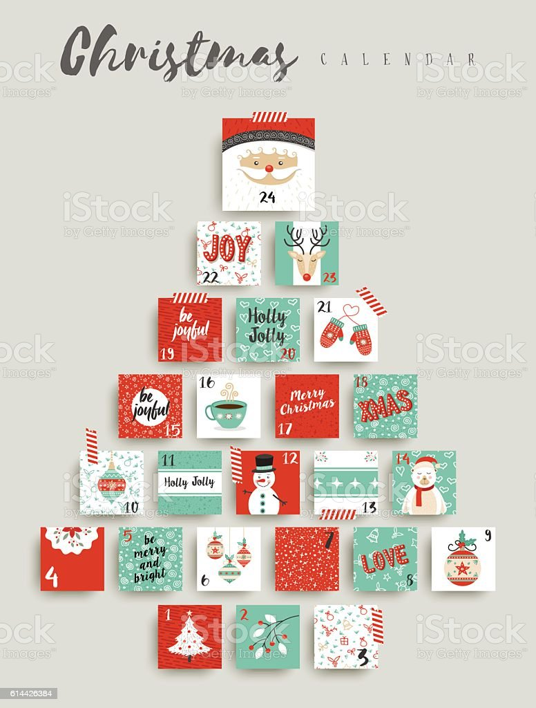 Christmas advent calendar cute ornament decoration - Royaltyfri Adventskalender vektorgrafik