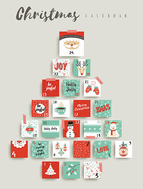 christmas advent calendar cute ornament decoration - advent stock illustrations