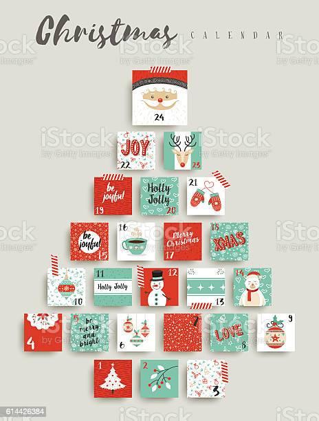 Christmas Advent Calendar Cute Ornament Decoration-vektorgrafik och fler bilder på Adventskalender
