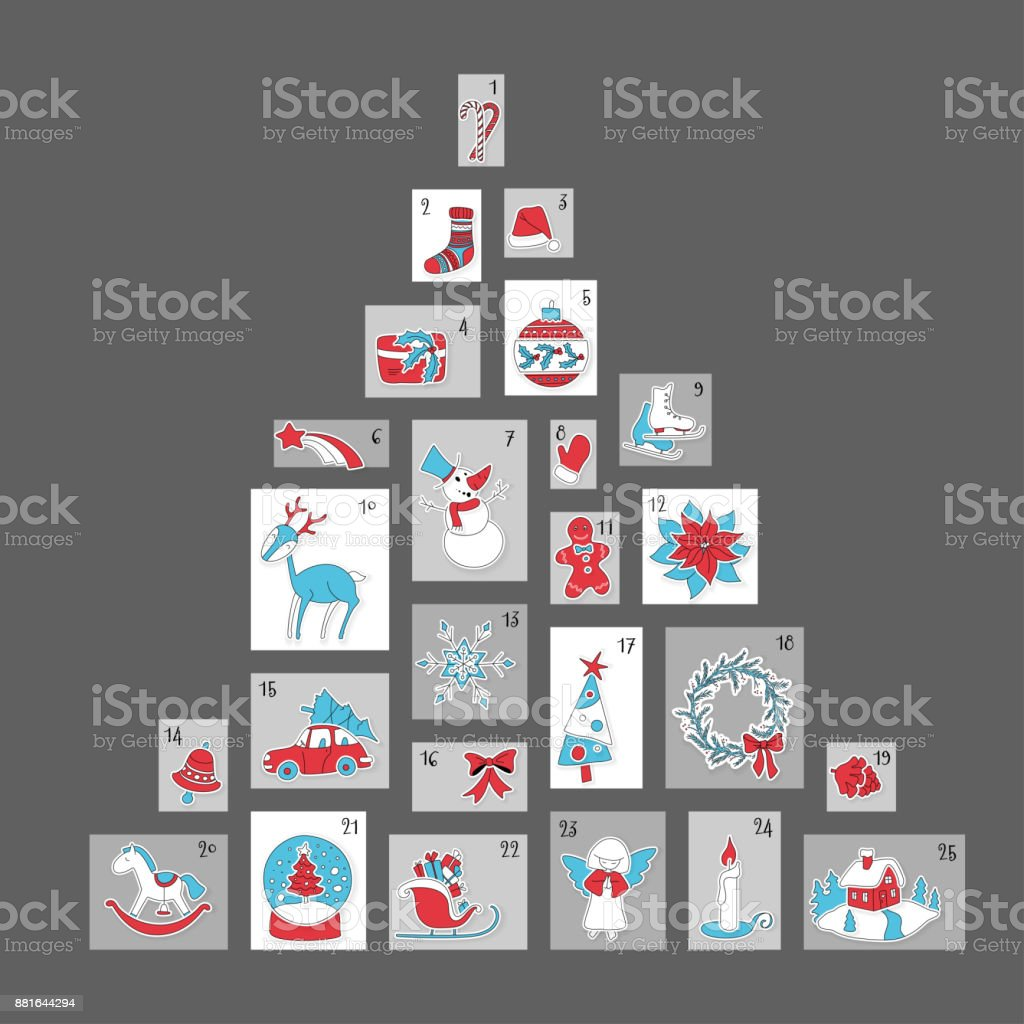 クリスマス アドベント カレンダー、かわいいシーズン装飾 ベクターアートイラスト