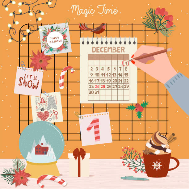 christmas advent calendar, day 1. - advent stock illustrations