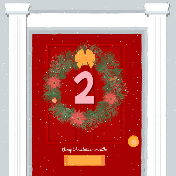 weihnachts-adventskalender, tag 2. - adventskalender tür stock-grafiken, -clipart, -cartoons und -symbole