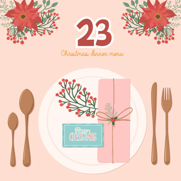 illustrazioni stock, clip art, cartoni animati e icone di tendenza di christmas advent calendar, day 23. - cena natale