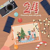 Christmas Advent Calendar, Day 24. Take a picture of the whole family near the Christmas tree. Lifestyle Vector Illustration.