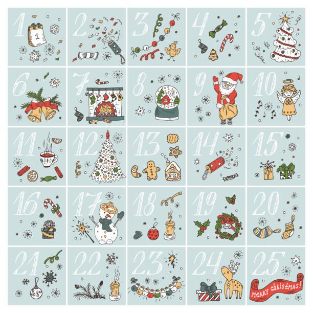 Christmas advent calendar. Doodle Christmas characters and decorations. Holiday Set – Vektorgrafik