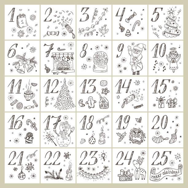 illustrations, cliparts, dessins animés et icônes de christmas advent calendar. doodle christmas characters and decorations. holiday set - advent