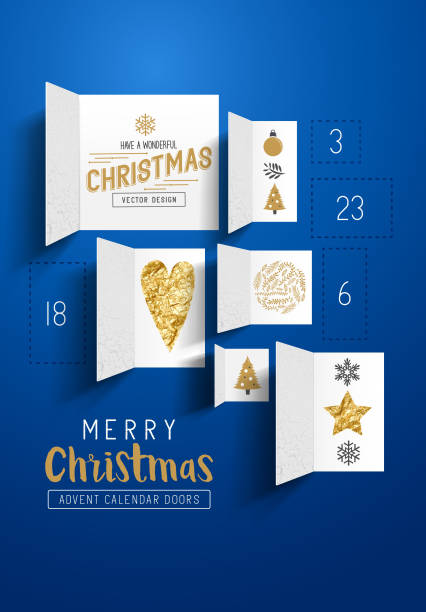 ilustraciones, imágenes clip art, dibujos animados e iconos de stock de christmas advent calendar doors - advent