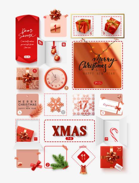 weihnachts-adventskalender für 24 tage. vektor-illustration - adventskalender tür stock-grafiken, -clipart, -cartoons und -symbole