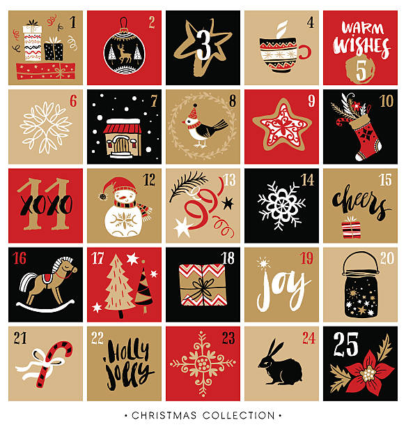 christmas advent calendar. hand drawn design and calligraphy. - advent stock illustrations