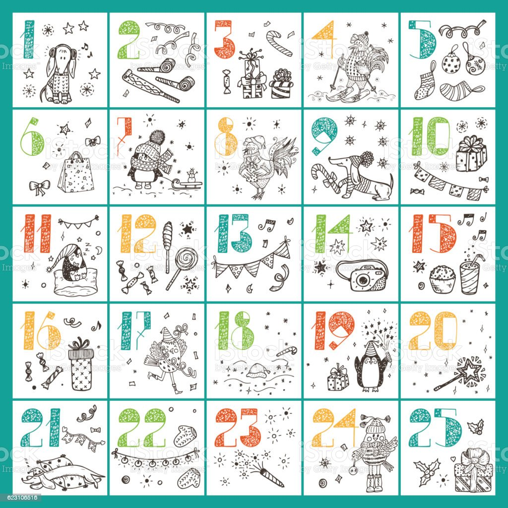 Christmas advent calendar. Hand Drawn Doodle Christmas characters and decorations vector art illustration